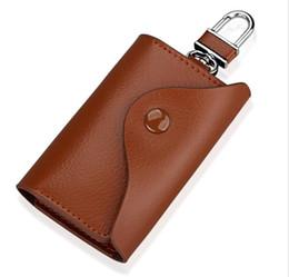 $enCountryForm.capitalKeyWord UK - Genuine Leather Wallet Car Key Holder Case Keychain Bag Zip Pouch Men and women hang buckle key bag Family access card key bag