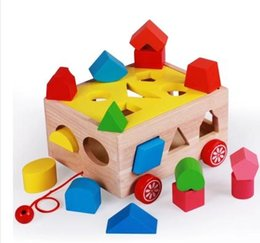Block Month Australia - Geometric shape cognition box with 15-hole matching blocks children's puzzle box for children aged 12 months to 2 years