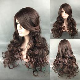 Long Hair Oblique Bangs Australia - Matte fashion ladies long curly hair wig set oblique bangs big wave mixed brown realistic wig long hair