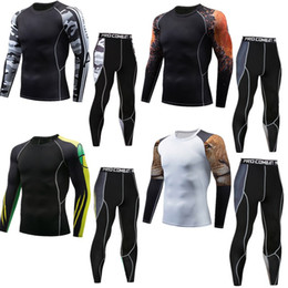 Brown Skin Suit Australia - Men's sports compression racing suit T-shirt + Pants-skin tights Fitness training suits long-sleeved Fitness clothing Yoga wear