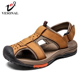 Brand Casual Sandals Australia - VESONAL Brand New Walking Outdoor Shoes Men Sandals For Male Casual Breathable Waterproof Hiking shoes Genuine Leather Sandalias