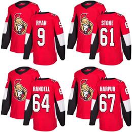 Ryan Jerseys Australia - 2018 New Brand Adults Ottawa Senators 9 Bobby Ryan 61 Mark Stone 64 Tyler Randell 67 Ben Harpur Cheap Red Ice Hockey Jerseys Accept Custom