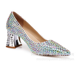 Genuine Leather Book Cover Australia - Angel2019 Women's Fashion Latest Shoes Pure Manual Book Rough Making Color Diamond Crystal With Shallow Mouth Bride Single Shoe