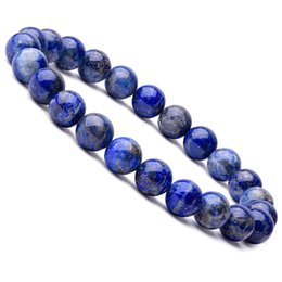 semi precious beaded bracelets NZ - 8mm Lapis Lazuli Energy Gemstone Beads Elastic Stretchable Bracelet Healing Power Semi Precious Beads Bangle Blue Stone Gift Beaded Jewelry