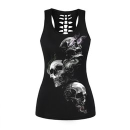 $enCountryForm.capitalKeyWord UK - Vintage Skull Printed Women Fitness Tank Tops Gothic Punk Style O Neck Sleeveless Tee Tight Vest Tops Female Sporting Clothing Y190509