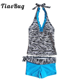 Discount teens suits - TiaoBug Kids Teens Two-piece Zebra Printed Swimwear Two-piece Swimsuit Girls Beachwear Halter Top Shorts Bikini Set Bath