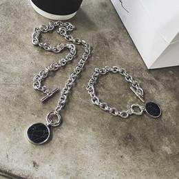 Disc Bracelet Australia - Marble Chain Short Necklace Bracelet Chain Set Disc Cuff Coin Bangle Fashion Acrylic Bangles & Necklace For Women
