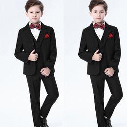 $enCountryForm.capitalKeyWord NZ - Handsome Kids Formal Wear Black Peaked Lapel 3 Pieces Wedding Tuxedos High Quality Boy's Formal Wear Pant Suits