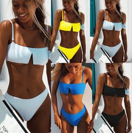$enCountryForm.capitalKeyWord NZ - 4 Colors Big V Two Pieces Bikini Nylon Sexy Swimsuit Woman Bathing Suits Swimwear Wading Exercise With Chest Pad A0780
