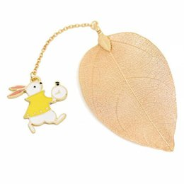 Stationery Bookmarks For Books Australia - School Stationery Festival Gift Metal Bookmarks for Books Cartoon Leaf Office Accessories rabbit