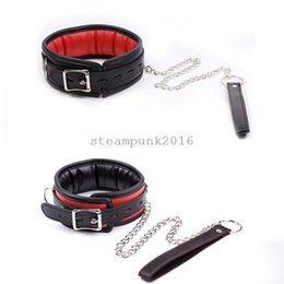shackle chains bondage NZ - Adult Fantasy Neck Restraints Slave Chain Leash Collar Shackles Couple AU876
