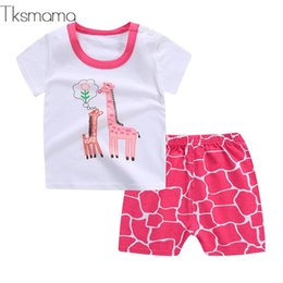 $enCountryForm.capitalKeyWord Australia - 19 Summer New Fashion Pink Giraffe Cartoon Baby Girl Clothing Outfits Baby Boy Oufits T