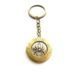 Spider Keychain Australia - Spider Charm locket keyring, Spider locket Keychain, Spider, Insects, Halloween locket Keychain,Charm Keychain,Custom, Silver,Initial Charm