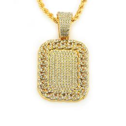 $enCountryForm.capitalKeyWord UK - Mens Hip Hop Fashion Jewelry Full Rhinestone Dog Tag Pendant Necklaces Hiphop Men Cuban Chain Necklace