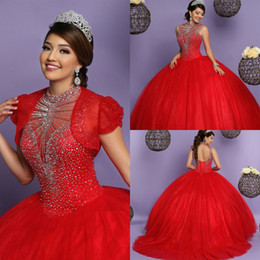 Draped Jacket Australia - ball gowns red quinceanera dresses with jacket high neck beaded top puffy full length open back prom evening dress lace up gown 2018