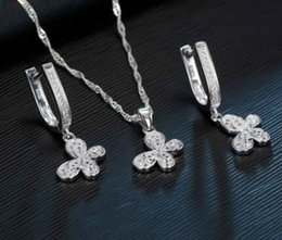 $enCountryForm.capitalKeyWord Australia - 100% Real 925 Sterling Silver Jewelry Sets For Women Gifts Cubic Zirconia Inlay Paved Butterfly Bridal Necklace Earrings