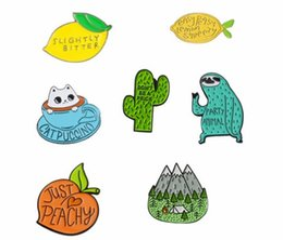 Pins china online shopping - Cute pins collection Animal Fruit Sloth Dinosaur Cat Lemon Peach Cactus Camping Kawaii Brooches Lapel pin