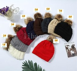 party caps NZ - Kids Thick Warm Winter Hat For Kids Soft Stretch Cable Knitted Pom Poms Beanies Hats Skullies Beanies Girl Ski Cap