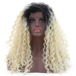 Discount fiber root - Long Curly Synthetic Lace Front Wig Ombre Blonde Dark Root Glueless Heat Resistant Fiber Hair Kinky Curly Free Part Wigs