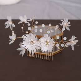 flower hair sticks Australia - Bridal Bride Noiva Wedding Party Yarn Flower Crystal Simulated Pearls Hairpins Clips Hair Combs Sticks Earring Jewelry Sets