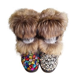 China Natural Real Fox Fur Snow Boots Women Bling Gem AB Crystals Rhinestones Flat Mid-Calf Booties Lady Warm Plush Winter Shoes Woman cheap shoe rhinestone gems suppliers