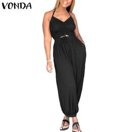 VONDA Rompers Womens Jumpsuit Sexy Sleeveless Backless Halter Solid Harem  Pants Casual Baggy Hollow Overalls Plus Size Playsuit 741d2327b7ee