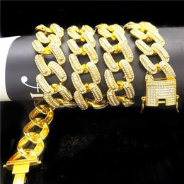 Gold 18k Shop Australia - Hip hop Mens Miain Curb Cuban Chain Necklace Bling Iced Out Fully Cz Necklace Luxury Box Clasp Chain Jewelry Drop Shopping 18mm