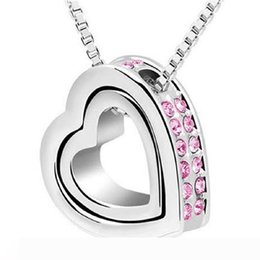 wholesale metal chokers UK - Silver Plated Alloy Metal Shining Crystal Chain Necklaces Double Love Heart Charm Love Forever Statement Bib Choker Pendant Necklace Jewelry