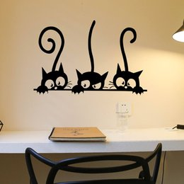 Black Wall Decal Stickers Australia - Lovely 3 Black Cats Wall Sticker Home Decoration Vinyl Mural Decal for Bedroom Living Room 1pc Cute Modern Cat Wall Stickers