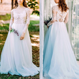 romantic boho beach wedding dress 2019 - Romantic Boho Lace Long Sleeve Bridal Gown Plus Size Covered Button V Neck Tulle Sweep Train Beach Wedding Dress Bohemia