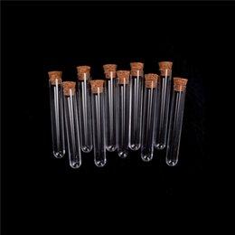 Tubo de ensayo de plástico con corcho de 6 pulgadas 20 ml Prueba de laboratorio transparente Tubo de regalo del favor del regalo Botella recargable 12 * 75mm 100pcs / lot en venta