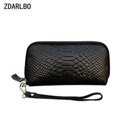 layer cosmetic bags NZ - Genuine Leather Female Make up Bag Serpentine Women Cosmetic Bag First Layer Cowhide Toiletry Bags Mobile Phone Storage Purse