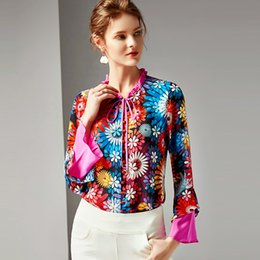 93c2b994fe9249 2019 100% Pure Silk Women s Runway Shirts O Neck Ruffles Floral Printed  Lace Up Fashion Elegant Shirts Blouse