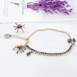 $enCountryForm.capitalKeyWord Australia - One Set Vintage Gold Color Unique Bowknot Crystal Layered Chain Heart Spider Toe Ring Anklet For Women Fashion Jewelry Wholesale