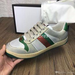 Chinese  2019 TOP Size 35-46 Men Women Designer Shoe Distressed Screener Dapper Dan Suede Sneakers Italian Luxury Shoe Unisex Casual Shoe With Box manufacturers