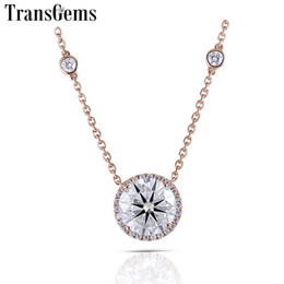 $enCountryForm.capitalKeyWord Australia - Transgems Genuine 18k 750 Rose Gold Halo Pendant Neckalce Moissanite Center 5ct F Color Vvs Halo Pendant 18 Inch Chain For Women Y190726