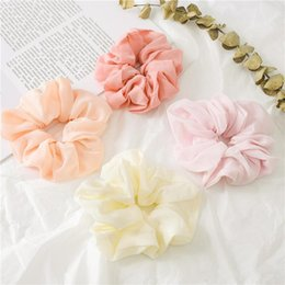 Headband Colored Hair Australia - Girls chiffon elastic hair scrunchie boutique children solid colored headband ponytail holder kids princess hair accessories