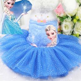 Blue Shirt For Wedding Australia - Pet Dress Chihuahua Princess Dresses Frozen Style Print Tulle Dog Clothes for Small Medium Dog Wedding Dress Skirt Pet Clothes Blue Pink