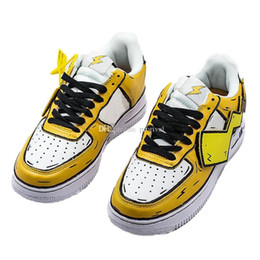 pikachu shoes NZ - Basketball Skate Sports Shoes Cute Pikachu Forced 1s 07 Low SE Girl Boy Lightning Design Men Woman Designer Trainer Sneakers