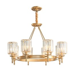 ClassiCal european art online shopping - Modern crystal chandelier lamps living room bedroom retro pendant light European luxury gold crystal chandeliers lighting fixture