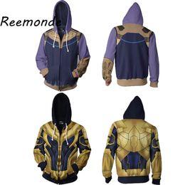 Cool Sweatshirt Jackets Australia - The :Infinity War Thanos Halloween Costume Hoodies Sweatshirts For Men Male 3D Print Fashion Cool Jacket Zipper Coat 5XL