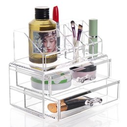clear makeup drawers cosmetics Australia - Makeup Cosmetics Organizer Clear Acrylic 2 Drawer 8 Grid Display Jewelry Box Storage Tabletop Lipstick Domestic Delivery