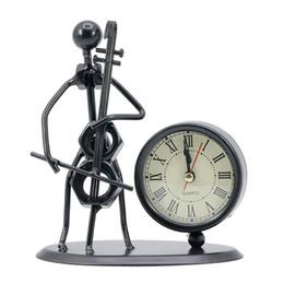 $enCountryForm.capitalKeyWord NZ - Classic Vintage Old Fashion Iron Art Musician Clock Figure Ornament For Home Office Desk Decoration Gift Cello