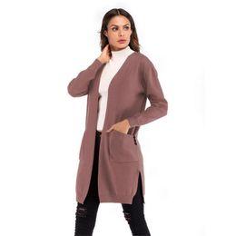 $enCountryForm.capitalKeyWord Australia - Nice Women Long Cardigans Autumn Winter Open Stitch Poncho Knitting Sweater Cardigans V Neck Oversized Cardigan Jacket Coat