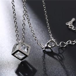 Necklaces Pendants Australia - 10 hollow square Rubik's Diamond Crystal Love Magic Cube Square Shape Pendant Necklace Geometric polygon necklace For Women Wedding jewelry
