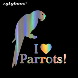 love stickers Australia - rylybons I Love Parrots Stickers and Decal Car-Styling for Car Accessories on Windows Wall Body Full Body Car Sticker
