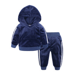 Hoodies Pants Kids Clothes Set UK - Velvet hoodies+pants 2 piece set for kids boys girls clothes 2019 toddler costume children outfits baby clothing tracksuit 1-7Y