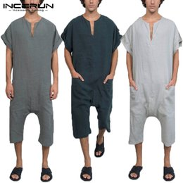 600e9ab44d Mens Jumpsuits Australia - Ethnic Islamic Rompers Mens Jumpers Fashion  Jumpsuits V Neck Muslim Islamic Kaftan