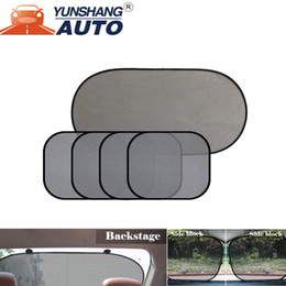 auto sun shades 2019 - 5 Pcs Lot Car Windows Sun Shade Black Mesh Auto Sun Visor Curtain Window Sunshade Suction Cup Protection Front Rear Side