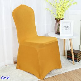 gold spandex banquet chair covers UK - Colour Gold spandex chair covers for wedding decoration lycra chair cover banquet cover wholesale flat front close
